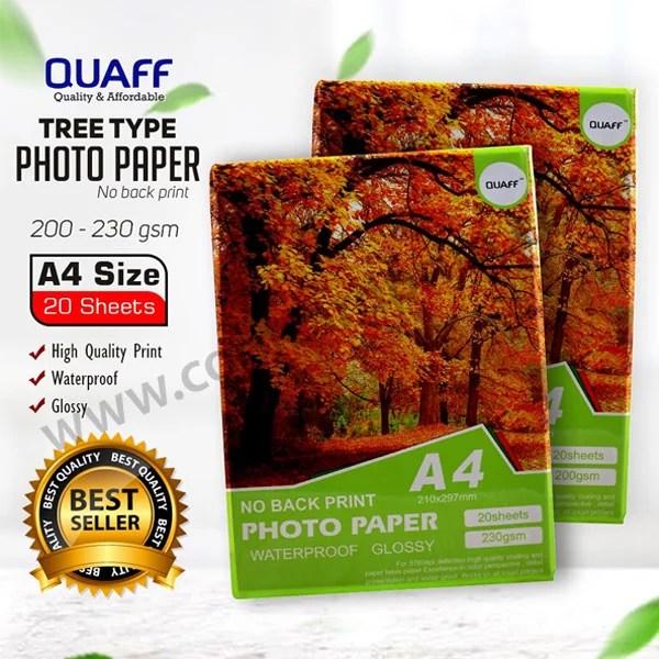 Quaff Photopaper No Backprint A4 20 Sheets   200 gsm (5 packs)