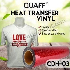 [RED] QUAFF Hologram Heat Transfer Cuttable Vinyl for T-shirts   20inches x 1 meter