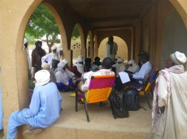 Interview with local men in the community during the baseline assessment.