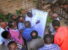 Local leaders and community members participating in the workshop were split into groups, and were then asked to create maps of the area's resources and their distribution.