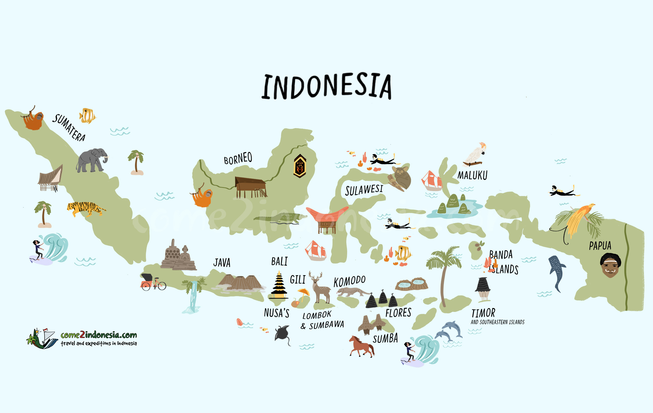 Map of Indonesia travel destinations