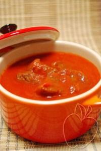 Ternera coulis de pimientos rojos (2)