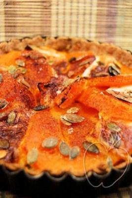 Tarta integral (salada) de calabaza, mozzarrella y cacao (3