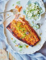 Barbecued maple salmon