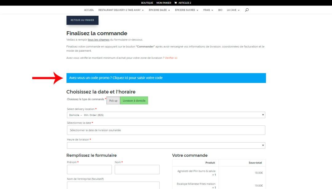 Ajouter un code promo Come Delivery