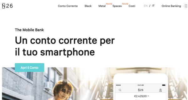 n26 conto corrente per smartphone