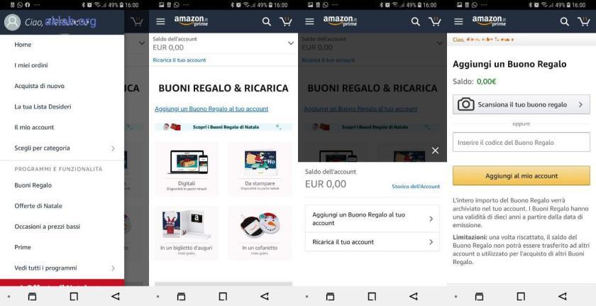 Utilizzare un buono regalo Amazon su smartphone