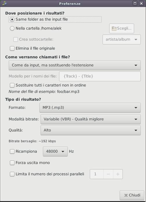 Il pannello delle preferenze di Sound Converter