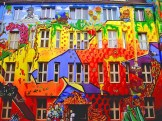 Duesseldorf germany on a famous street with a lot of street art