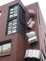 falling bookstore