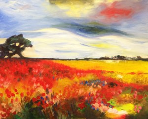 Paint and sip class Poppy landscape