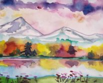 Fall Reflections, watercolor by Julia Ward