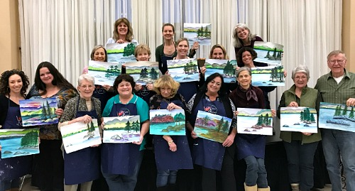 Happy painters after the Tahoe Shore watercolor class