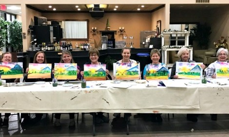 Read paint and sip class reviews on our Mountain Sunrise class!