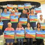 Poppies abound in wine painting class