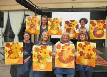 Sunflower paint and wine class Grass Valley CA