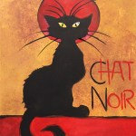 chat -noir acrylic painting and wine class creation