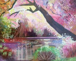 Magic pond acrylic painting