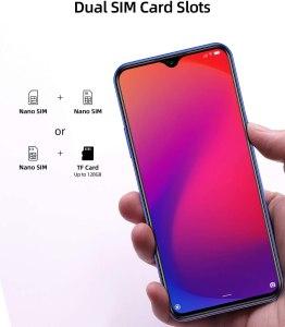 Moviles Libres 4G, DOOGEE X95 Android 10 Smartphone Libre, Pantalla 6,52 Pulgadas, 4350mAh Batería, Smartphone Dual SIM, Triple Cámara 13MP+5MP, 16GB ROM, 128GB SD, Face ID - Azul