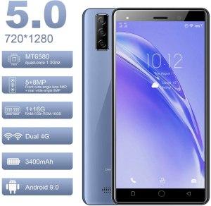 Moviles Libres 4G 5.0 Pulgadas Android 9.0 Tres Cámaras Traseras 8MP+Cámara Frontal 5MP 1GB RAM 16GB ROM /128GB Memoria Expandida Telefono movil 3400mAh Móviles y Smartphone Libres