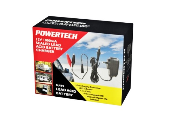 Powertech – Motorcycle 12V 1000mA Seal Lead Acid Battery Charger a