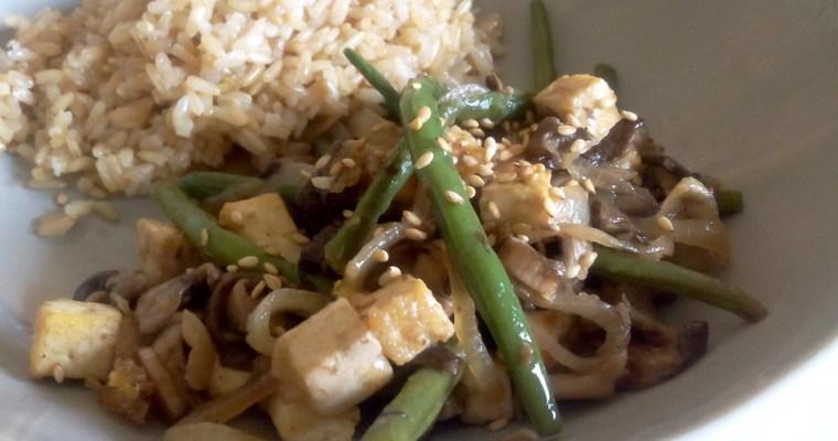 Cogumelos Shiitake com Feijão verde e Tofu