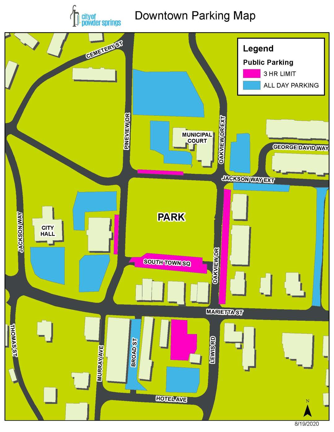 Map of Downtown Powder Springs parking