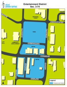 Map of Entertainment District boundaries in downtown