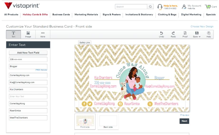 blogger business cards design vistaprint