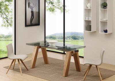פינת אוכל שולחן זכוכית דגם 'סילביה'