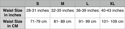 Hernia Belt Sizing Chart