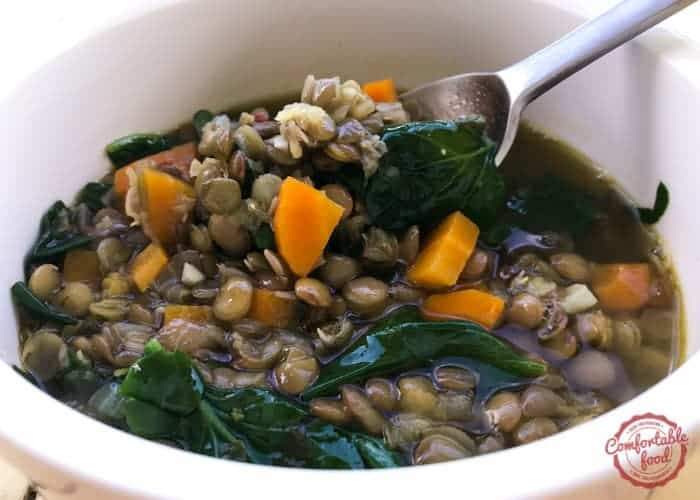 Easy and hearty lentil soup with spinach recipe.