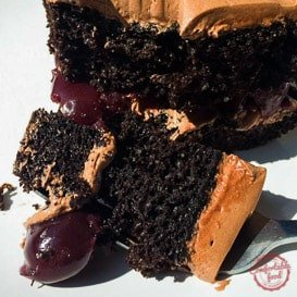 Cherry chocolate cake with buttercream icing.