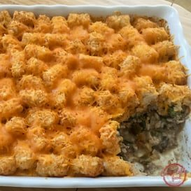 Rich and hearty tater tot casserole with beef recipe.