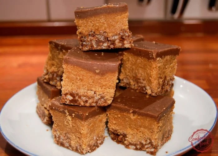 Crispy chocolate and peanut butter bars.