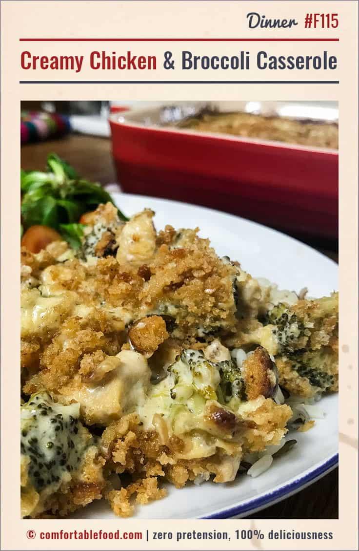 Rich and creamy chicken and broccoli casserole recipe.