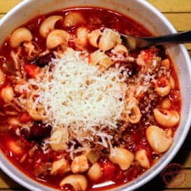 Italian bean and pasta soup recipe.