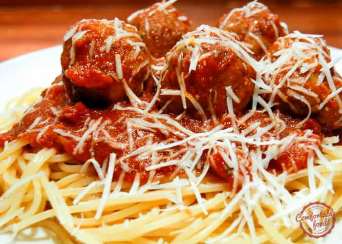 Classic Italian spaghetti and meatballs recipe.