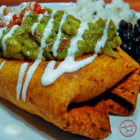 Smoky and spicy chicken chimichanga recipe.