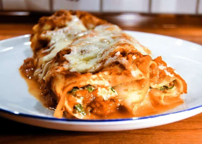 Cheese and Spinach Manicotti Recipe from Comfortable Food.