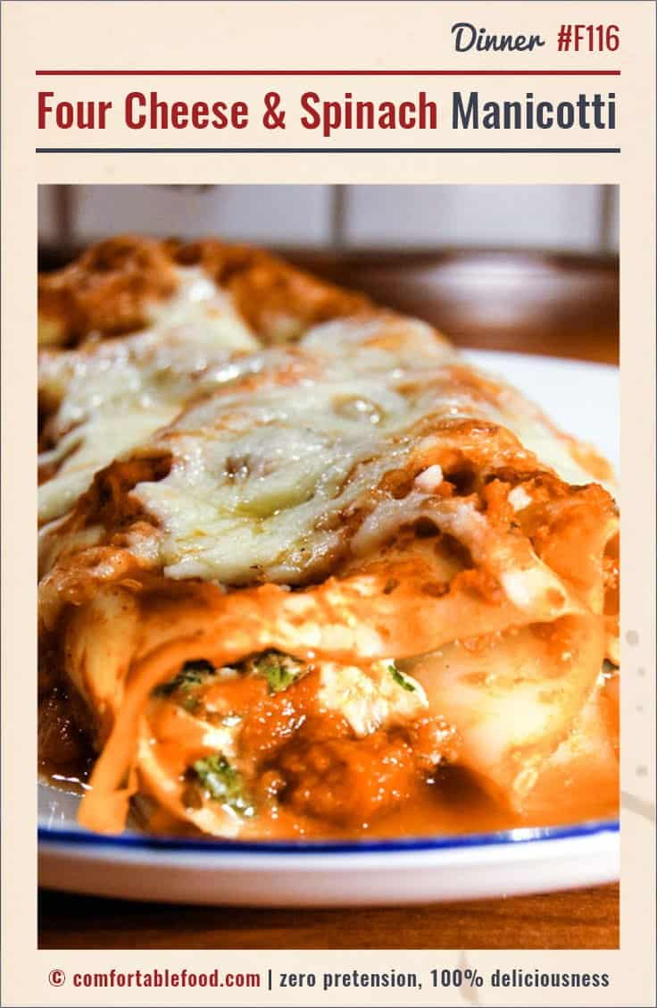 An easy Spinach and Cheese Manicotti recipe.