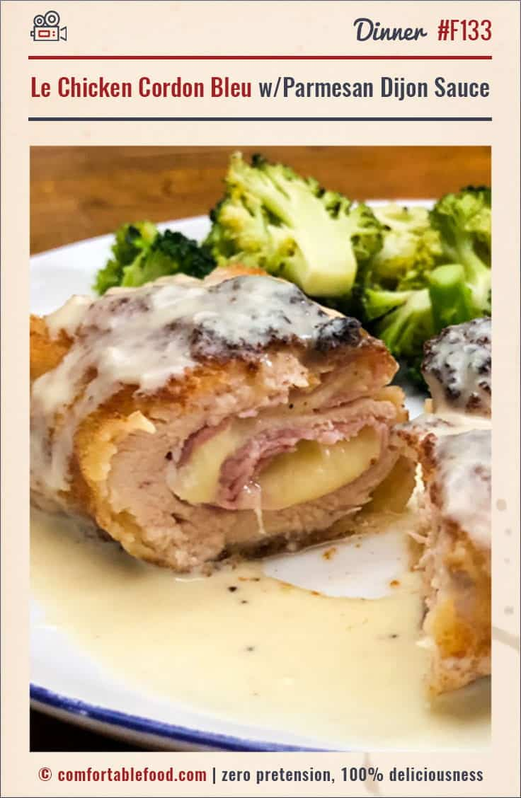 A simple Chicken Cordon Bleu recipe with Parmesan Dijon Sauce.