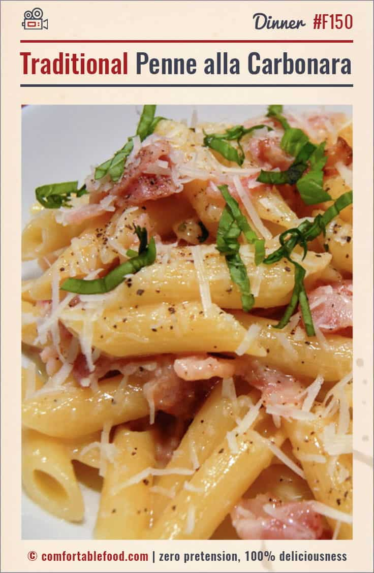 Traditional Penne alla Carbonara