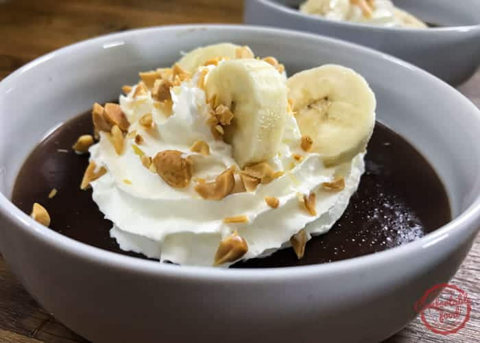 Quick and easy recipe for chocolate peanut butter pudding.