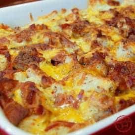 Breakfast casserole with bacon.