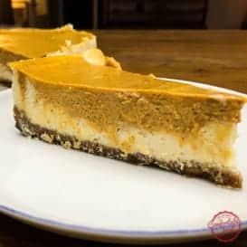 Layered pumpkin cheesecake recipe.