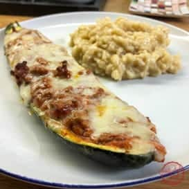 An easy stuffed zucchini recipe.