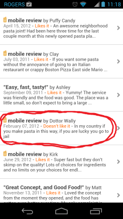 My brother and I cried laughing after reading this unfortunate and hilarious review on UrbanSpoon for a different Italian restaurant.