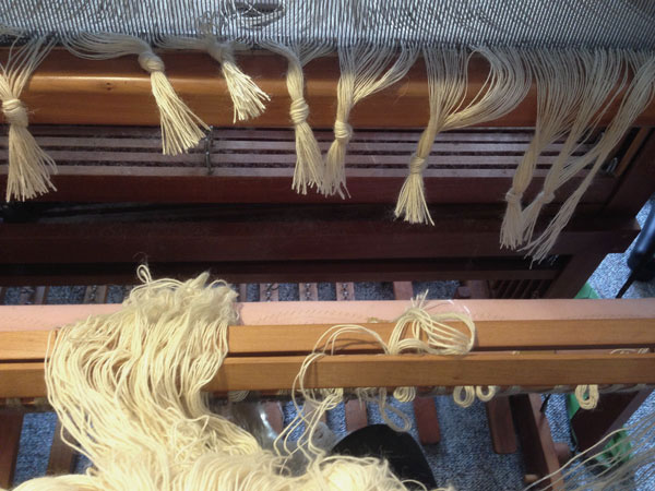 The new warp is held in place with two lease sticks. Maintaining the cross and freeing up my hands to tie the knots.