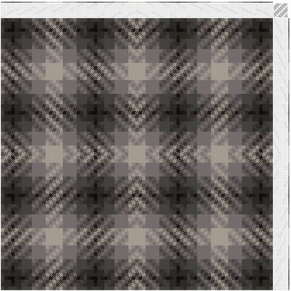 This is the first direction taken with my design process. Done in shades of grey- creating a plaid/check pattern. The deflected double weave creates a counter pattern with diagonal, central converging lines.